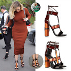Maura-2 Lace Up Open Peep Toe Strappy Block Heel Sandal Shoe Multi Color