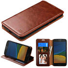 for motorola Moto G5 PHONE BROWN WALLET LEATHER SKIN ACCESSORY STAND COVER CASE