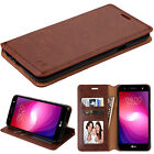 for LG X Power 2 ( US701 ) BROWN WALLET LEATHER SKIN  COVER CASE + GLASS SCREEN