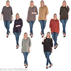 New Womens Italian Lagenlook Fine Knit Plain Casual Plus Size Top 10 14 16 18 20