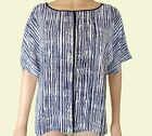 New Ex M&S Ladies Blue & White Striped Casual Summer Shell Top Size 10 - 22