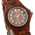 new Sandalwood Band Dial Calendar Men Women Unisex Quartz Wooden Watches Box