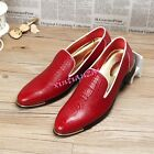 Mens Shiny Leather Slip On Pointed Toe Punk Loafer Dress Formal Shoes Wedding