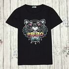 Black Kenzo Printed T-shirt Men / Women Kenzo Tiger Head T-shirt  Short Sleeves