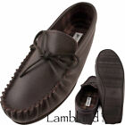 Lambland Mens / Ladies Moccasin Slippers with Leather Upper and Cotton Lining