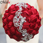 Handmade Luxury Silk Rose Flower Crystal Butterfly Brooch Wedding Bridal Bouquet