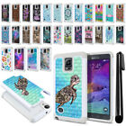 For Samsung Galaxy Note 4 N910 Anti Shock Studded Bling HYBRID Case Cover + Pen