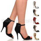 Womens ladies high heel strappy ankle cuff party evening sandals shoes size