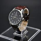 Mercedes Benz Men's Watch Stainless Steel Brown Leather Strap Black Dial