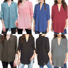 Women V-neck Plus Size Tops Loose Long Sleeve T-Shirt Casual Blouse Fashion Top