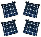 Set of 4 - Navy Blue White Anchor In / Outdoor Foam Chair Cushions - Choose Size