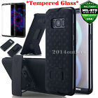 For Samsung Galaxy S8 / S8+ Case Tempered Glass Kickstand Holster Armor