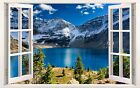 3D Window Effect on Canvas Mountains Forest Lake Nature Picture Wall Art Print