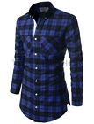 (NKCHST521) TheLees Mens Unique Side Zipper Slim fit checked Plaid Long Shirt