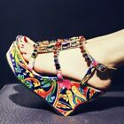 Womens Wedge High Heel Printed T Strap Rhinestone Roman Sandals Party Shoes