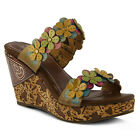 New In Box Womens L'Artiste AURA-YM Yellow Multi Wedge Leather Sandals