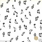 White/black musical notes dressmaking/craft fabric 100% COTTON per 1/2 metre/FQ