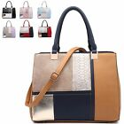 Ladies Designer Multi Tone Fx Leather Mock Croc Handbag Shoulder Bag MA34772
