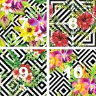 """Floral & Stripes Oracal Printed Adhesive Outdoor Vinyl 4"""" X 4"""" PERMANENT"""