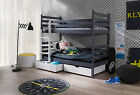 BUNK BED PINE  WHITE GRAFIT WOODEN SOLID FOAM MATTRESSES AND STORAGE