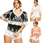 Womens Embroidered Crochet Lace Top Ladies Oversized Baggy Short Sleeve V Neck