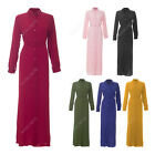 Womens Ladies Plain Long Full Button Open Abaya Shirt Dress Belted Maxi Kaftan