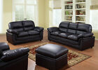 VERONA 3+2+1 SEATER LEATHER  SOFAS BLACK BROWN CREAM  SOFA SET