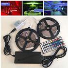 10M 5050 RGB LED Strip with 44keys IR Remote Controller +12V 5A Power Adapter US