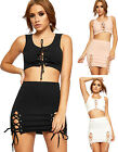 Womens Eyelet Co-ord Twin Set Ladies Crop Vest Top Mini Skirt Lace Tie Up New