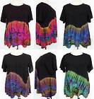 Tie Dye RAYON Short Sleeve FLARE Top Shirt Blouse One Size L-XL