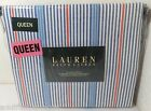 "NEW Ralph Lauren QUEEN Sheet Set 100% Cotton 18"" Pockets White/Blue-Red Stripe"