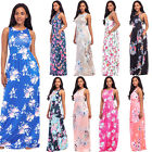 Women's Casual Floral Printing Racerback Sleeveless Tunic Long Maxi Dress