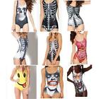 3D Skull Style  Womens One-Piece Swimsuit Bikini Push-up Bathing Swimwear