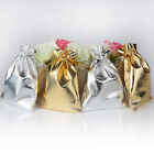 100Pcs Drawstring Pouch Metallic Foil Christmas Wedding Party Favour Gifts Bags