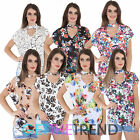Womens Choker Neck Floral Top Ladies Summer Casual Flower Print Tee Shirt Plus