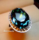 White Gold Plated Silver Ocean Blue Crystal Oval Cocktail Ring R123