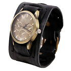 Cool Men Retro Punk Rock Military Watch Wide Leather Bracelet Band Wrist Watches