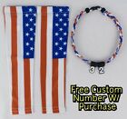 Sports Compression Arm Sleeves Baseball United States Flag & Rope Necklace W/ #