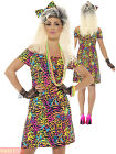 Ladies 80s Fancy Dress Costume Party Animal Neon Rave Eighties Womens Outfit