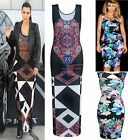 Womens Ladie Sleeveless Block Floral Aztec PAISLEY Print Bodycon Maxi Long Dress