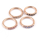 SEGMENT RING Hinged Smooth PVD ROSE GOLD Pave-Set Gems Ear Septum Nose Lip
