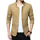 NEW Men's Jacket Slim Fit Collar Cotton Coat Fashion Casual Outwear Jacket