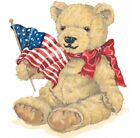 American Flag & Teddy Bear Shirt, Patriotic Bear, Red Bow, Small - 5X