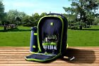 Insulated Picnic Cooler Backpack Set Bag Basket Rucksack W/ 2 Person Accessories