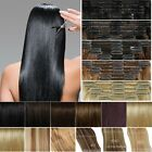 5A Remy Clip In 100% Human Hair Extensions Full Head Double Wefted 8Pieces H279