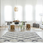 SMALL M SIZE  LARGE RUG THICK GREY MODERN SOFT SHAGGY RUGS NON SHED TRELLIS RUG
