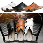 Men Summer Slipper Leather Closed Toe Sandal Breather for Indoor Outdoor Beach