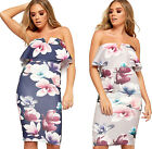 Womens Off Shoulder Floral Bodycon Mini Dress Ladies Layered Frill Print Stretch