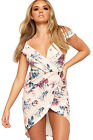Womens Strappy Wrapover Floral Print Dress Ladies Open Split Cold Shoulder