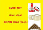 Package Parcel Box Buff Brown Clear Fragile 48mm x 66M Rolls Tape   48